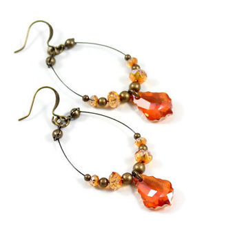 Amber Earrings - Hoop Earrings - Dangle Earrings - Crystal Jewelry - Beaded Jewelry - Crystal Earrings - Astral Pink Earrings