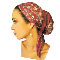 Tichel, Hair Snood, Head Scarf, Pre Tied Bandana Alternative: Plum Purple Floral Long Lurex. . . see many more styles in shop