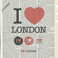 I love London Giclee Print on Upcycle Vintage Page Book Print Art Print Dictionary Print Collage Print