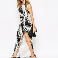 River Island Mono Print Split Thigh Maxi Dress