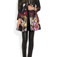 RED Valentino | Floral-print lightweight faille swing coat | NET-A-PORTER.COM
