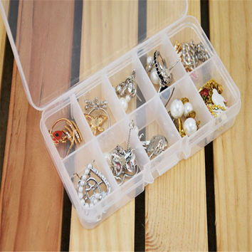 10 Grids Adjustable Jewelry Beads Pills Nail Art Tips Storage Box Case Quality First 10IT