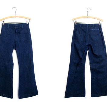 Boho California Jeans DARK WASH 70s Bell Bottoms Naval Issue 70s High Waist Front Pocket Trousers Cropped Denim Jeans Vintage Hippie SMALL