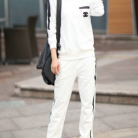 Chanel fashion print leisure sports set sweater long sleeve two piece suit