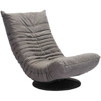 ZUO Modern Down Low Swivel Chair Gray 100682 Living Sofas
