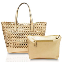 Sophie Laser Cut Tote Handbag In Gold