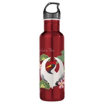 Japanese Lucky Symbols Crane Celebration Custom Stainless Steel Water Bottle
