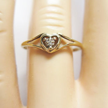 Vintage Diamond Heart Promise Ring 10K Sz 7 Yellow Gold JCM