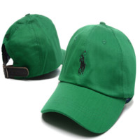 Fashion Green Polo Embroidered Unisex Adjustable Cotton Sports Cap Hat