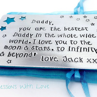 Father's Day - Personalised Wallet Card - Daddy Gift - Dad - custom Message - Keepsake -Aluminium star wallet insert - Gifts for Men