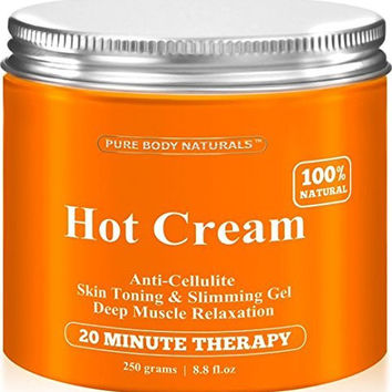 Cellulite Cream & Muscle Relaxation Pain Relief Cream Huge 8.8oz, 100% Natural 87% Organic - Cellulite Cream Treatment Hot Gel, Firms Skin - Muscle Rub Cream, Muscle Massager 1 Pack