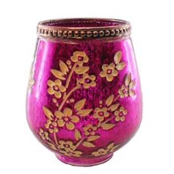 Fuchsia Mercury Glass Candle Holder Floral