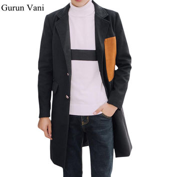 Men's Long Wool Coat Jacket Men Patch Designs Parka Single Breasted Casual Overcoat Trench Coat Blends Brand Clothing Size 5XL