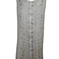 Mogul Womens Shift Dress Grey Sleeveless Embroidered Button Front Boho Sundress