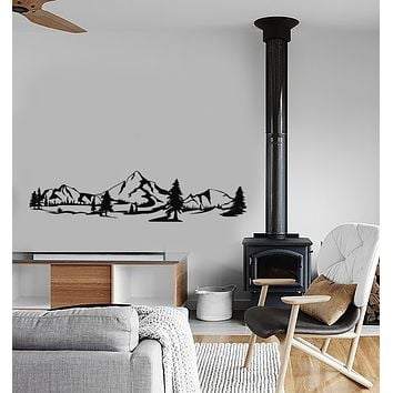 Vinyl Wall Decal Mountains Nature Forest Landscape Stickers (3605ig)