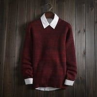Men's Round Collar Comfortable Soft Pullover Sweater