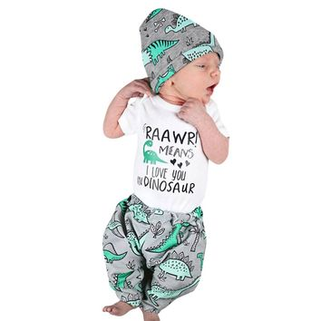 2017 Autumn Newborn Baby Boy Girl Clothes Short Sleeve Letter Print Romper Tops+Pant Hat Dinosaur Clothing Set 3PCS for 6-24M