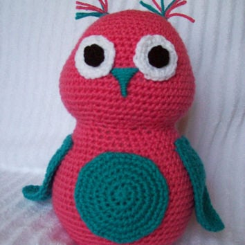 Crochet Owl Stuffed Animal in Coral and Turquoise, Crochet Animal, Owl Nursery Decor, Forest Nursery Decor, Crochet Owl (MADE TO ORDER)