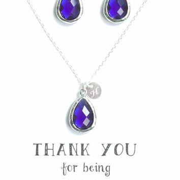Bridesmaid Set Gifts of 4 Navy Blue Earrings and Necklaces with initial 02cea33b0855