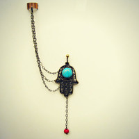 hamsa ear cuff with turquoise stone, ear cuff with chains, chains ear cuff, hand of fatima, turquoise ear cuff
