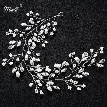 Miallo Handmade Flower Leaf Headbands Bridal Hair Vine Jewelry Hair Accessories Ornaments Wedding Tiaras and Crowns for Bride