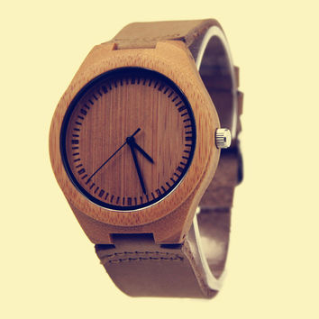 YAN & LEI Bamboo Watch with Leather Belt Minimalism
