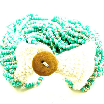 Wide Beaded Bracelet with Crochet and Button Detail/Turquoise Bracelet/Boho Bracelet/Turquoise Boho Bracelet/Hippie bracelet/Hippie Jewelry