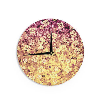"Ebi Emporium ""Flower Power in Yellow"" Orange Glitter Wall Clock"