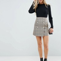 ASOS Double Breasted Mini Skirt in Check with Faux Pearl Buttons at asos.com