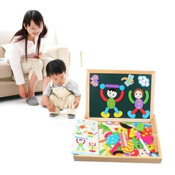 Wooden Multifunction Children Animal Puzzle Writing Magnetic Drawing Board Blackboard Learning Education Toys Double Easel Toy