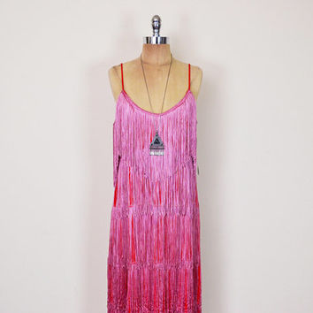 Vintage 70s Red & Pink Fringe Dress Tier Fringe Mini Dress 20s Dress Flapper Dress Gatsby Dress Art Deco Dress Party Dress L XL Extra Large