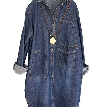 Women's Blue Jacket Coat Long Sleeve Casual Loose Fitting