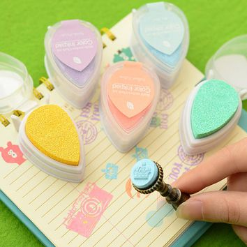 Waterdrop Pearl Series Printing Table DIY Rubber Sheet Cute Ink Pad Quick Dry Paper With Color Inkpad Stationery Set