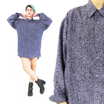 80s Mens Silk Shirt Abstract Print Silk Shirt Long Sleeve Shirt Purple Silk Shirt Fresh Prince Hip Hop Unisex Collared Button Up Shirt (M/L)