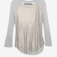 Enza Costa EXCLUSIVE Gold Foil Baseball Tee-Enza Costa-Designers-Categories- IntermixOnline.com