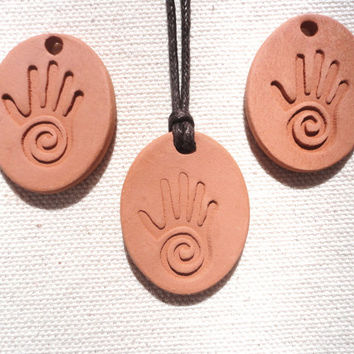 Healer's Hand, Reiki Hand, Aromatherapy Essential Oil Diffuser Pendant, Ceramic Terracotta Earthy Jewelry