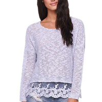 LA Hearts Lace Hem Slub Pullover Sweater - Womens Sweater