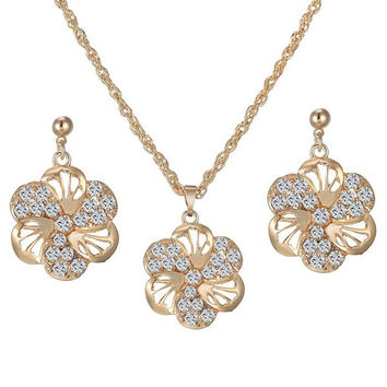 Golden Rhinestoned and Cut Out Floral Necklace and Earrings