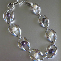 Pearl Bracelet, Vintage, White & Dark Purple Pearls or Faux Pearls, W. E. Richards, Stamped Sterling WRE