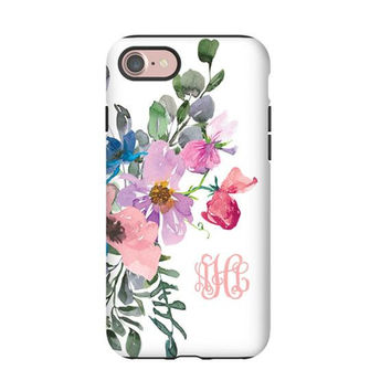 Watercolor Blush Pink Purple Blue Flower Bouquet monogrammed iPhone X Case iPhone 8 Case Galaxy S9 Galaxy S8 iPhone 7 case spring flowers