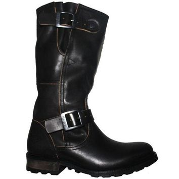 ONETOW PLDM Urban - Black Leather Tall Dual Buckle Engineer Boot