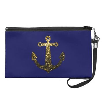 Beautiful Yellow Gold sparkles Anchor wristlet purse bag by PLdesign