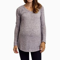 Purple-Heathered-Knit-Maternity-Top