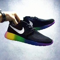 NIKE Roshe Run sports shoes sneakers black-white hook rainbow soles H-CSXY