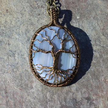 Wire-wrapped Tree of Life on Striped Blue Agate Pendant, Wire-wrapped Pendant, Tree of Life Necklace, Healing Stone Pendant, Made in USA