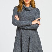 Fall Bliss Turtleneck Dress - Charcoal