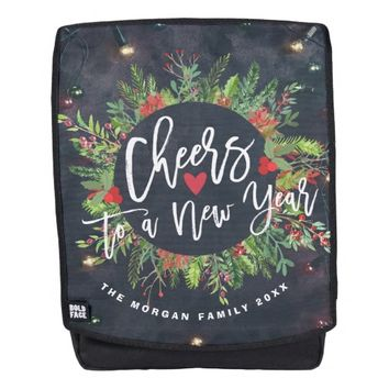 Cheers to a New Year Script Holly Wreath Greeting Backpack