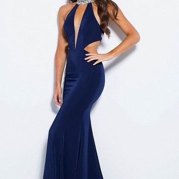 Jovani - JVN60948 Bejeweled High Halter Dress With Cutouts