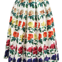 Multi-Color Rose Print Pleated Skirt