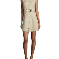 Sleeveless Belted Fit-&-Flare Dress, Size: